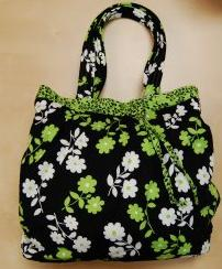Its in The Bag by Carole - Color me Black, White and Green Large Hand Made Project Bag #12