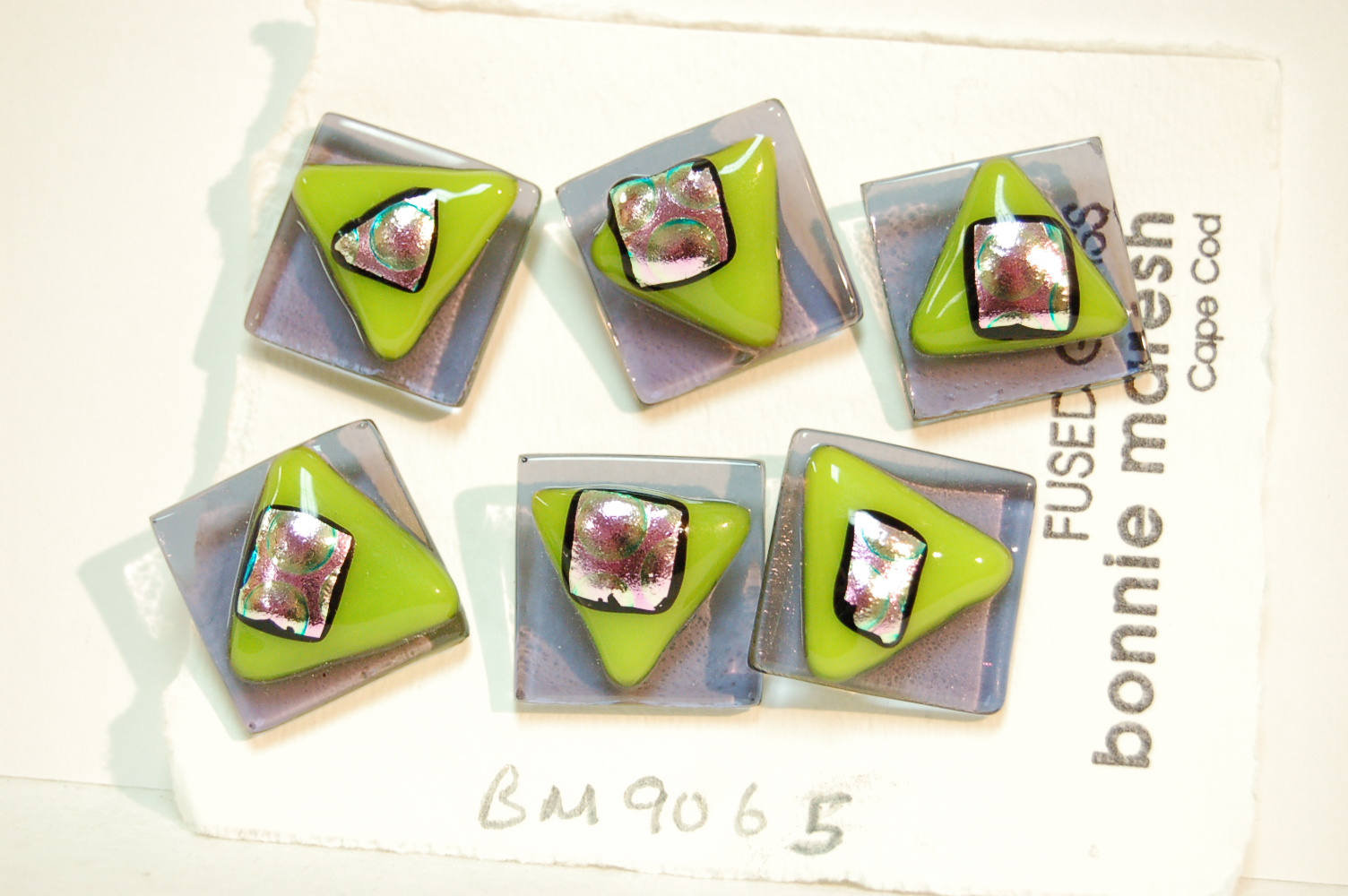 Bonnie Maresh Fused Glass Buttons - Large BM9065
