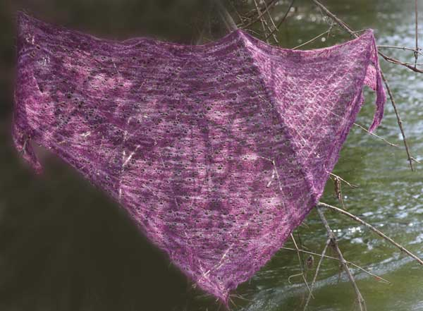 Cherry Tree Hill Potluck Yarns Elfin Lace Shawl Pattern Shown in Semi Solids