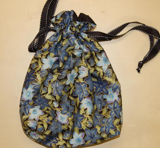 Do-It-All Drawstring Bag by Fairy Designs - Blue Flowers