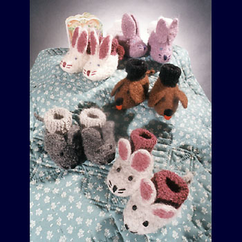 Fiber Trends Animal Friends Felt Booties Knitting Pattern CH22
