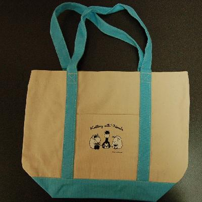 Knitting With Friends® Large Blue Handle Boat Tote - 3 Friends design