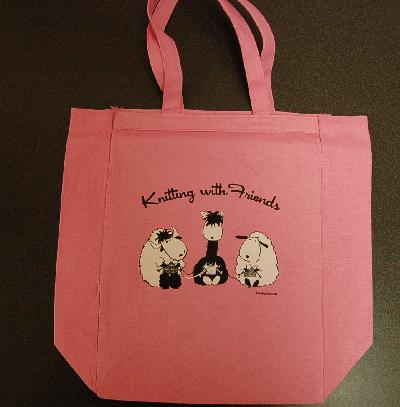 Knitting With Friends® - Pink Tote - 3 Friends Design