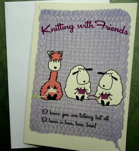Knitting Birthday Card : Knitting with friends greeting card baa