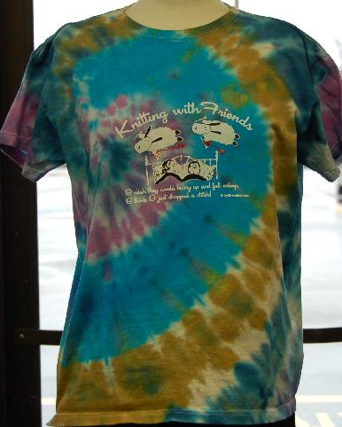 Womens Tie-Dyed     Small T Shirt - Sheep Dreams Design in Island Atol