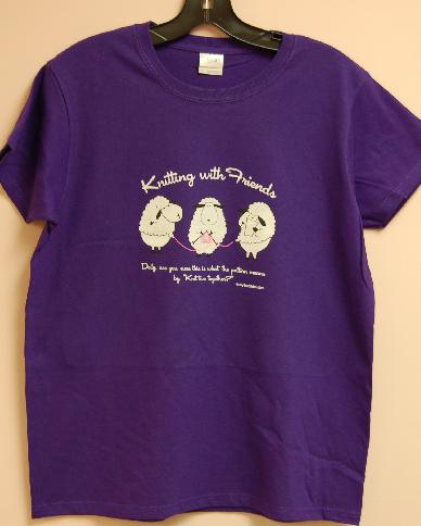 Knitting With Friends®  X-Large T-Shirt - Knit 2 Together Design in Deep Purple