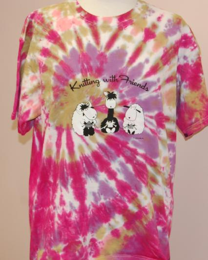 Knitting With Friends® - Tie-Dyed  Large T Shirt - 3 Friends Design in Flight