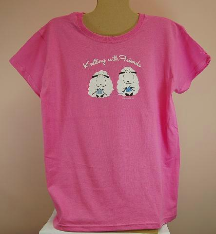 Knitting With Friends®  Medium T-Shirt - Sheep Design in Fuchsia