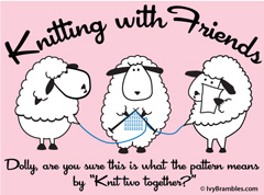 Knitting with Friends® Womens Long Sleeve T-Shirt - Knit Two Together Design