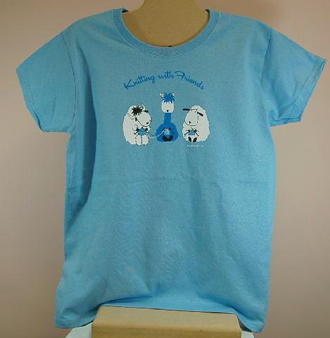 Knitting With Friends® X-Large T-Shirt - 3 Friends Design in Light Blue