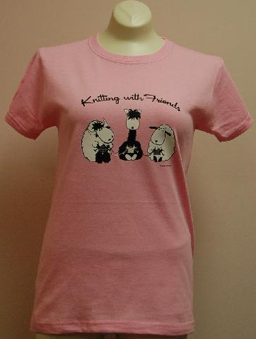 Knitting With Friends®  Large T-Shirt - 3 Friends Design in Pink