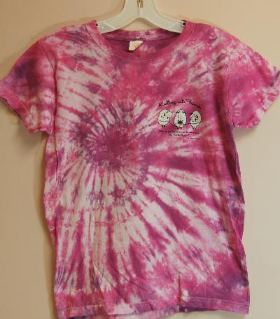 KWF Tie-Dyed    Small T Shirt - Knit 2 Together Design in Pinky Purple (ladies cut)