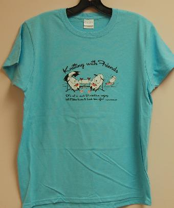 Knitting With Friends®   Medium T-Shirt - Surfer Design in Sky Blue