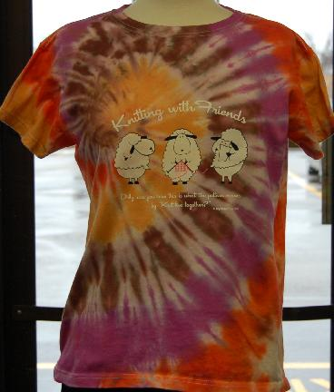 Womens Tie-Dyed 2XL T Shirt - Knit 2 Together Design in Supernova