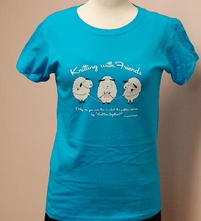 Knitting With Friends®   Medium T-Shirt - Knit 2 Together Design in Teal Blue