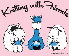 Knitting with Friends® Womens Crew Neck T Shirts - 3 Friends Design
