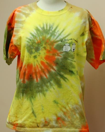 Knitting With Friends® - Tie-Dyed  X-Large T Shirt - 2 Sheep Design in Tidepool