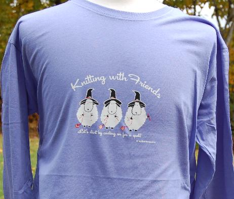 Knitting With Friends® Womens    Small Long Sleeve T-Shirt - Witches in Purple
