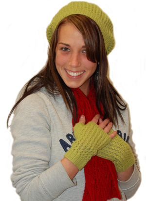 Ivy Brambles Green Tea Beret and Mitts Pattern by Emily Elizabeth