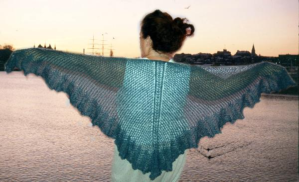 Midnight Ruffles Lace Shawl Pattern by Jocre Arts