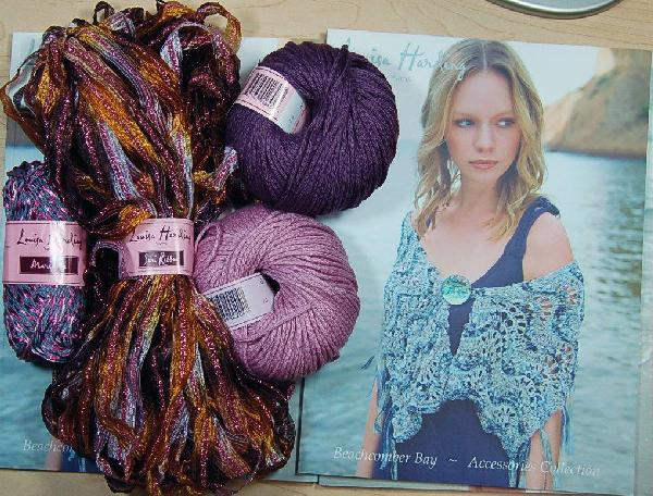 Louisa Harding Periwinkle Shawl Kit in Gold/Purple