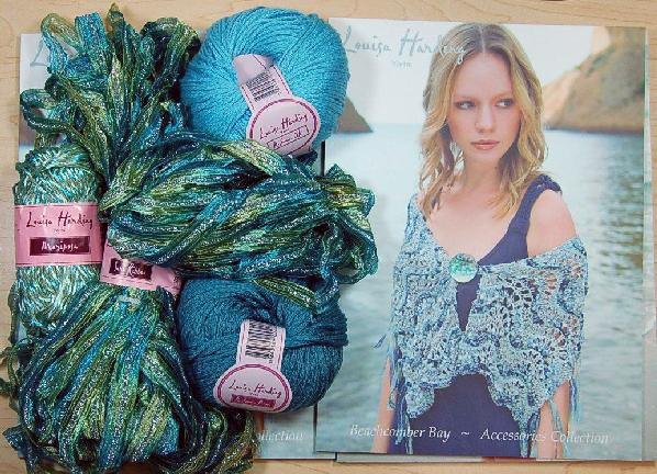Louisa Harding Periwinkle Shawl Kit in Green/Blue
