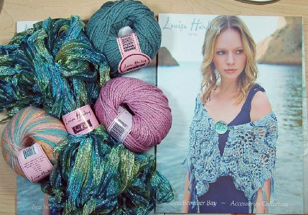 Louisa Harding Periwinkle Shawl Kit in Green/Pink