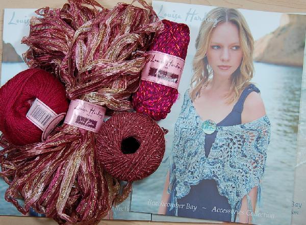 Louisa Harding Periwinkle Shawl Kit Pink/Beige