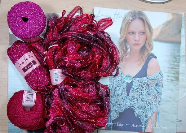 Louisa Harding Periwinkle Shawl Kit in Red/Pink