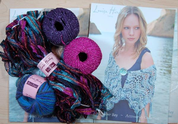 Louisa Harding Periwinkle Shawl Kit in Teal with Angora