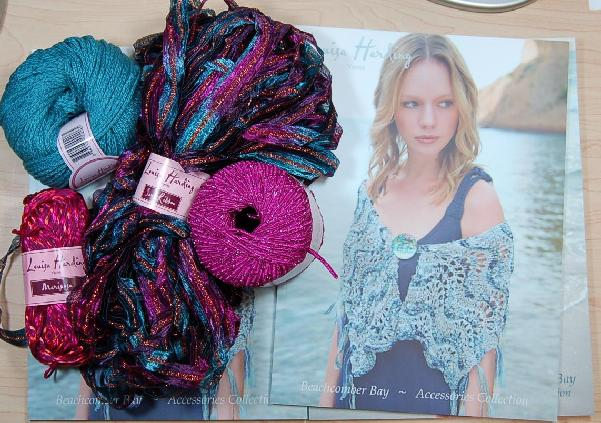Louisa Harding Periwinkle Shawl Kit in Teal/Pink