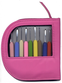 Knitters Pride Waves Aluminum Crochet Hook Set - Pink Leather Case